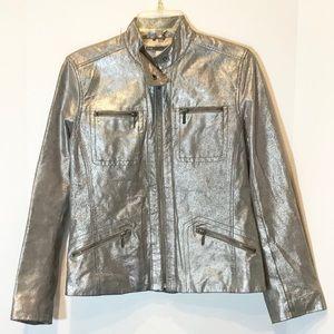 Chico's silver metallic leather jacket EUC